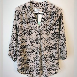 NWT Amour Vert silk blouse spotted speckled small